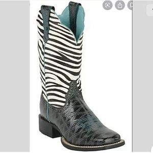 Ariat QuickDraw Boots Zebra Hair On Tops Sz 8B